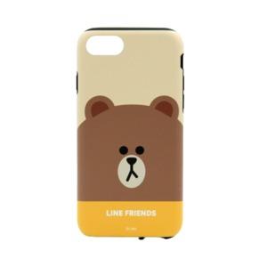 LINE FRIENDS iPhone SE 第2世代 (SE2)/8/7 フェイス ブラウン - 拡大画像