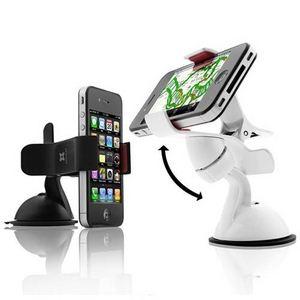 E393★スマートフォンホルダー ★iPhone & 各スマートフォン対応★ 車載・卓上用 カーマウント-White   - 拡大画像
