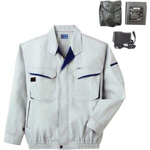 空調服 綿・ポリ混紡長袖作業着 BK-500N 【カラー:シルバー サイズ:XL】 リチウムバッテリーセット - 拡大画像