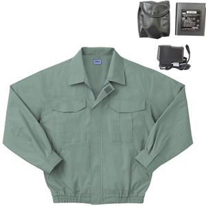 空調服 綿薄手長袖作業着 BM-500U 【カラーモスグリーン: サイズ L】 リチウムバッテリーセット - 拡大画像