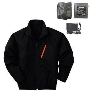 空調服 ポリエステル製長袖ブルゾン P-500BN 【カラー:ブラック サイズ:LL】 リチウムバッテリーセット - 拡大画像