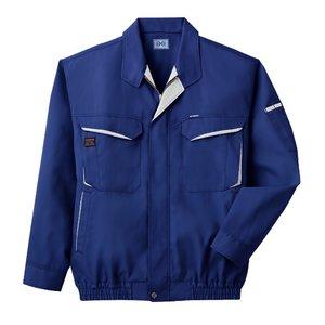 空調服 綿・ポリ混紡長袖作業着 K-500N 【カラー:ブルー サイズ:L】 電池ボックスセット - 拡大画像