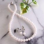 【ホワイト系】特選あこや本真珠/ネックレス・イヤリング2点セット(7.0〜7.5mm)/品質保証書付