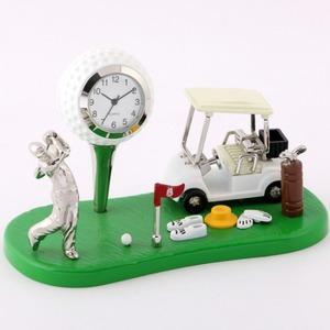 ミニチュア置時計 ゴルフ ボール カート ゴルファー/MC-C3328 - 拡大画像