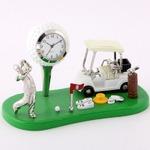 ミニチュア置時計 ゴルフ ボール カート ゴルファー/MC-C3328