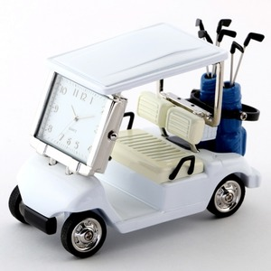 ミニチュア置時計 ゴルフカート/MC-C3570-WH - 拡大画像