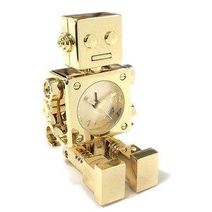 ミニチュア置時計 ロボット アンティーク アラーム機能付き ゴールド/AC570-GD - 拡大画像