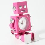 ミニチュア置時計 ロボット アンティーク アラーム機能付き ピンク/MC-AC570-HPK