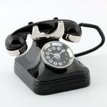 ミニチュア置時計 電話 黒でんわ ブラック/MC-C3185-BK
