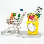 ミニチュア置時計 ショッピングカート 買い物かご シルバー イエロー MC-C3322