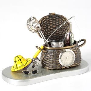 ミニチュア置時計 釣り竿 魚釣り シルバー 銀 MC-C3330 - 拡大画像