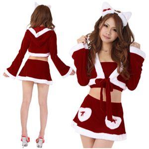 【クリスマスコスプレ】Short-p437A レディースサンタ・ショート437(赤) - 拡大画像