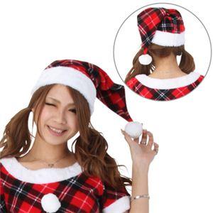 【クリスマスコスプレ】サンタ・帽子 チェック赤 - 拡大画像