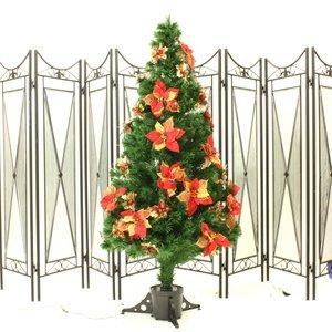 【クリスマス】150cm光ファイバーツリー(クリスマスツリー ポインセチア/赤・金) T401-150 - 拡大画像