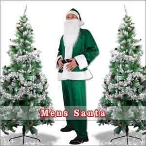 【クリスマスコスプレ 衣装】メンズサンタ Men's Santa costume GREEN VELVET グリーン - 拡大画像