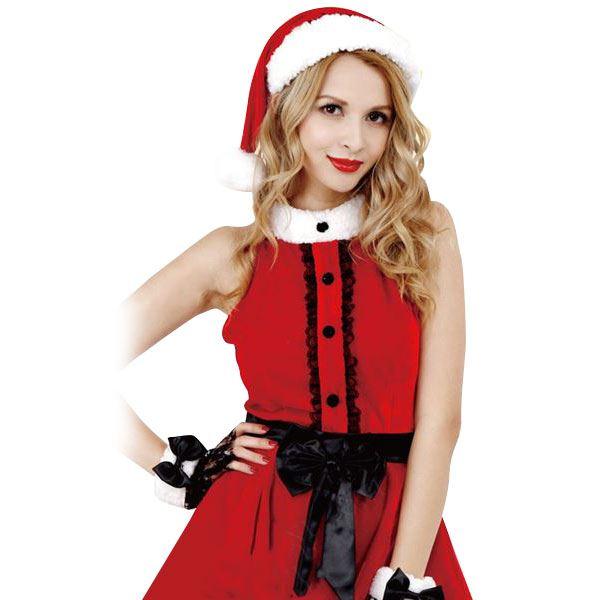 クリスマスコスプレ/衣装 【Black Ribbon Santa ブラックリボンサンタ】 レディース 『CLUB QUEEN』 〔イベント パーティー〕