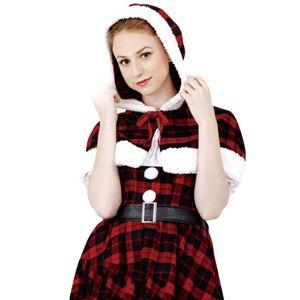 クリスマスコスプレ/衣装 【Plaid Hood Santa プレイドフードサンタ】 レディース 『CLUB QUEEN』 〔イベント パーティー〕