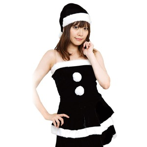 クリスマスコスプレ/衣装 【BLACK VELVET】 レディースブラックサンタ 『Ladie's Santa costume』 〔イベント パーティー〕