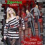 コスプレ衣装/コスチューム 【Zombie Prisoner Girl 囚人】 帽子 トップス スカート 血のり付き 〔ハロウィン イベント〕