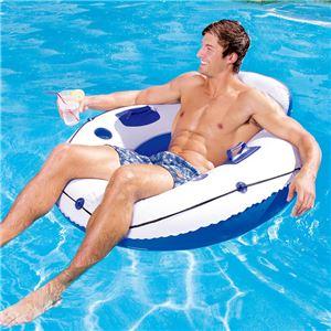 うきわ型 フロート/浮き輪 【直径約106cm×高さ約45cm】 修復パッチ×1付き Luxury Lounge 〔プール ビーチ〕 - 拡大画像