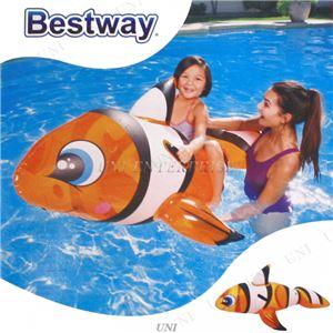 クマノミ型 フロート/浮き輪 【縦約148cm×横約84cm×高さ約68cm】 ポリ塩化ビニル Clown Fish Ride-on 〔プール ビーチ〕 - 拡大画像