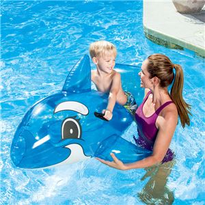 シャチ型 フロート/浮き輪 【縦約148cm×横約84cm×高さ約68cm】 ポリ塩化ビニル Transparent Whale Rider 〔プール ビーチ〕 - 拡大画像