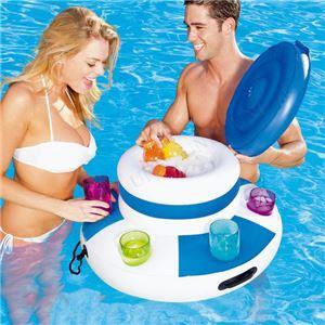 水に浮かぶクーラーボックス 【直径約67cm×高さ約42cm】 補修パッチ×1付き 『FLOATING COOLER』 〔プール 海水浴〕 - 拡大画像