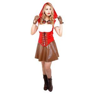 コスプレ衣装/コスチューム 【Red Riding Hood Girl レッドライディングフードガール】 ゴーグル グローブ付き 『STEAMPUNK』 - 拡大画像