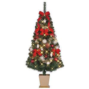 クリスマスツリー 【シャンパンレッド】 150cmサイズ 四角ポット付き 『セットツリー』 〔イベント パーティー〕 - 拡大画像