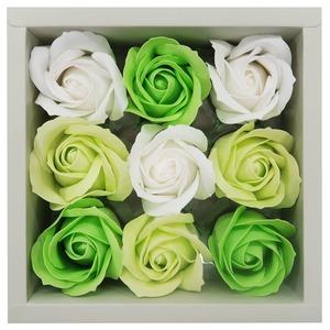観賞用ソープフラワー ローズボックス3色(ホワイト、グリーン、ライトグリーン) - 拡大画像