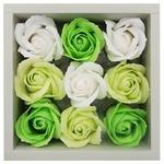 観賞用ソープフラワー ローズボックス3色(ホワイト、グリーン、ライトグリーン)