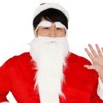 パーティー/コスプレ 【2点セット】 サンタさんのひげ ストレート 『Patymo』 〔クリスマス フェス〕