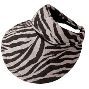 UVカット率99.8% UV対策 帽子になる機能付サンバイザー ブラックゼブラ柄 - 拡大画像