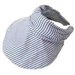 UVカット率99.8% UV対策 帽子になる機能付サンバイザー ライトブルーストライプ