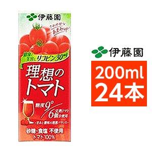 【まとめ買い】伊藤園 理想のトマト 200ml×24本(1ケース) 紙パック - 拡大画像