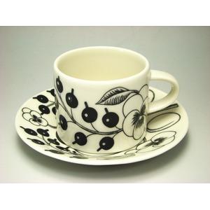 アラビア(ARABIA) パラティッシ・ブラック コーヒーカップ&ソーサー - 拡大画像