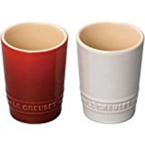ル・クルーゼ (Le Creuset) ペア・ショート・タンブラー チェリーレッド&ホワイトラスター