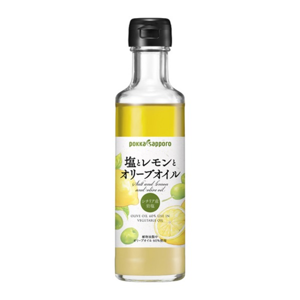 【まとめ買い】ポッカサッポロ 塩とレモンとオリーブオイル (180ml) 瓶 12本(1ケース)