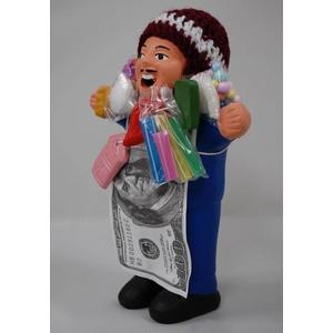 【エケコ人形18cm】ミックス色「タバコをくわえさせてあげるとお礼に願い事が叶えてくれる!」と話題になった幸運人形。」【(色の指定ができません)(ペルー直輸入)タイプ2斜め