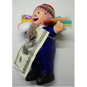 【エケコ人形19cm】 L サイズのエケコ人形・色はブルー(青色) 当店モデル(ペルー直輸入) - 拡大画像