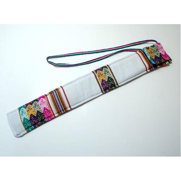【QUENA SOFT CASE WHITE】民族楽器ケーナ用の布ケース(アンデス織物アワイヨ)白★ペルー製