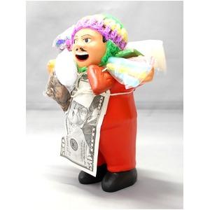 【エケコ人形15cm】 エケコ人形・色はオレンジ(橙色) 当店モデル(ペルー直輸入) - 拡大画像