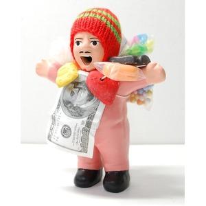 【エケコ人形15cm】桜・うすピンク色 女性に人気!★今だけ!ワイルーロの実 プレゼント中!(ペルー直輸入) - 拡大画像
