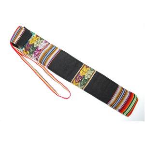 【QUENA SOFT CASE BLACK AGUAYO】民族楽器ケーナ用の布・ソフトケース アンデス織物のアワイヨ柄 ブラック(黒)★ペルー製 - 拡大画像