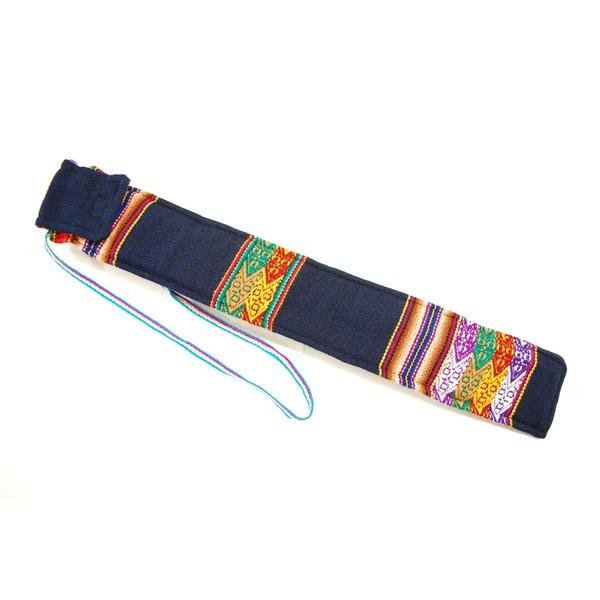 【QUENA SOFT CASE BLUE AGUAYO】民族楽器ケーナ用の布・ソフトケース アンデス織物のアワイヨ柄 ブルー(青)★ペルー製