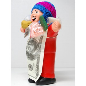 【エケコ人形18cm・タイプ2・赤】胴体の色は赤(レッド)「タバコをくわえさせてあげるとお礼に願い事が叶えてくれる!」と話題になった幸運人形。ペルー製 - 拡大画像