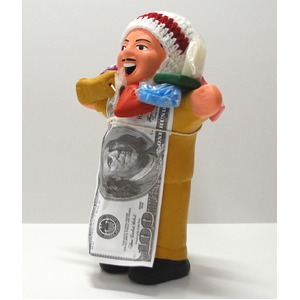 【エケコ人形18cm・タイプ2・芥子色】胴体の色はカラシ色(マスタード)「タバコをくわえさせてあげるとお礼に願い事が叶えてくれる!」と話題になった幸運人形。」ペルー製 - 拡大画像