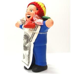 【エケコ人形18cm・タイプ2・青】胴体の色は青(ブルー)「タバコをくわえさせてあげるとお礼に願い事が叶えてくれる!」と話題になった幸運人形。」ペルー製 - 拡大画像