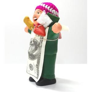 【エケコ人形18cm・タイプ2・緑色】胴体の色は緑(グリーン)「タバコをくわえさせてあげるとお礼に願い事が叶えてくれる!」と話題になった幸運人形。」ペルー製 - 拡大画像