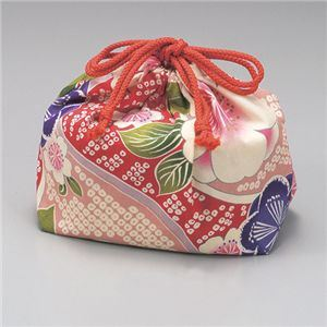 巾着袋 桜ピンク 綿 【2個セット】 - 拡大画像